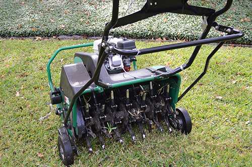 Lawn aeration machine with grass plug stuck in the stem